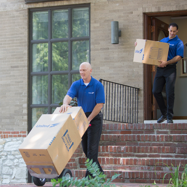 Commercial moving services in progress at local business