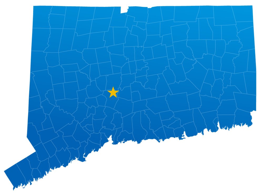 Map of Ace Van & Storage's service area in Connecticut